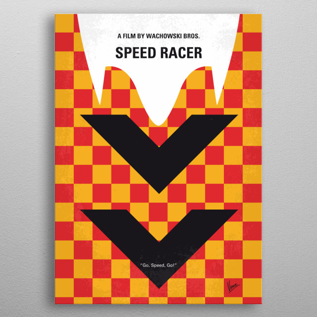 No482 My Speed Racer minimal movie poster  A young driver, Speed Racer, aspires to be champion of the racing world with the help of his family and his high-tech Mach 5 automobile.  Directors: Andy Wachowski, Lana Wachowski Stars: Emile Hirsch, Matthew Fox, Christina Ricci metal poster