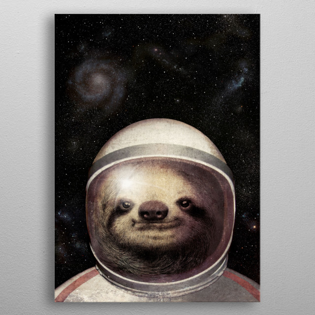 Space Sloth metal poster