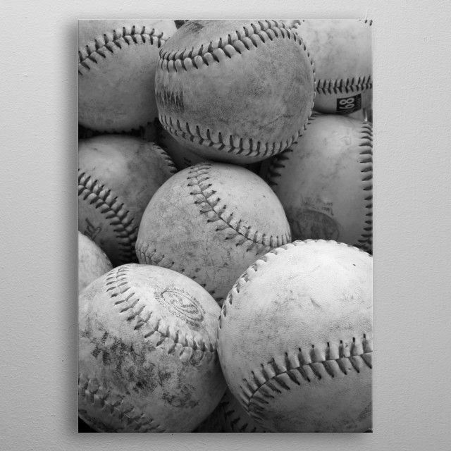 Vintage Baseballs in Black and White - Vertical metal poster