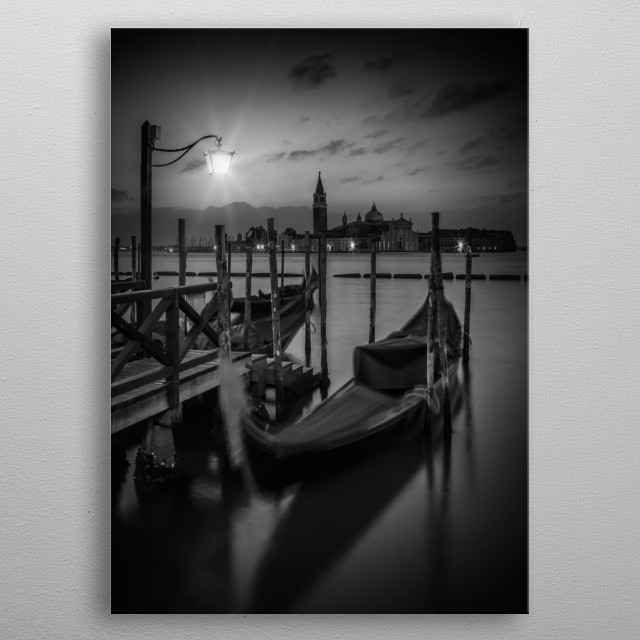 Gorgeous monochrome nightscape and a fantastic view over Canale di San Marco to San Giorgio Maggiore which is one of the islands of Venice. metal poster