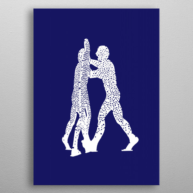 Molecule Man.  Silhouette after a series of aluminium s... metal poster
