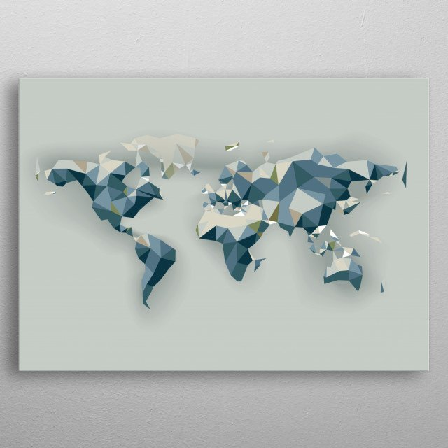 low poly world map metal poster