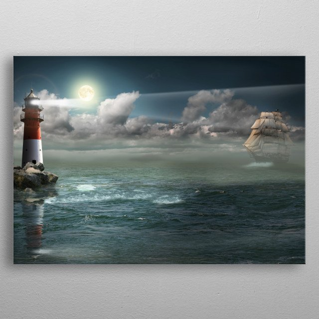 Lighthouse Under Back Light metal poster