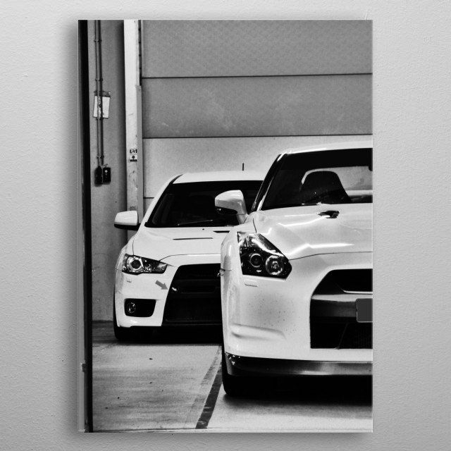 Japanese Street Machines in the Pitbox waiting to be unleashed: EVO X metal poster