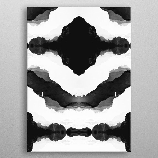 Black Isolation Fields  Graphical and abstract black and white mindfields! metal poster