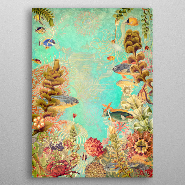 Tropical Caribbean Blue Collage metal poster