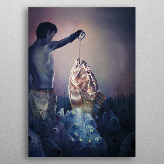 Alessandro Fantini - Quidditas (2015) Oil on canvas 50x60 cm. It isn't easy at all even fishing the biggest grouper among so many licking chameleons. metal poster