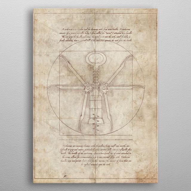 Da Vinci's Real Screw Invention metal poster