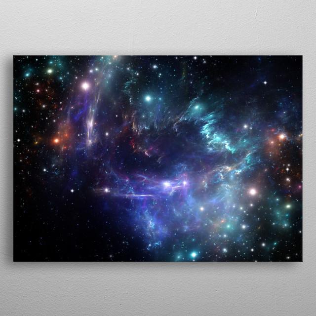 Violet nebula space metal poster