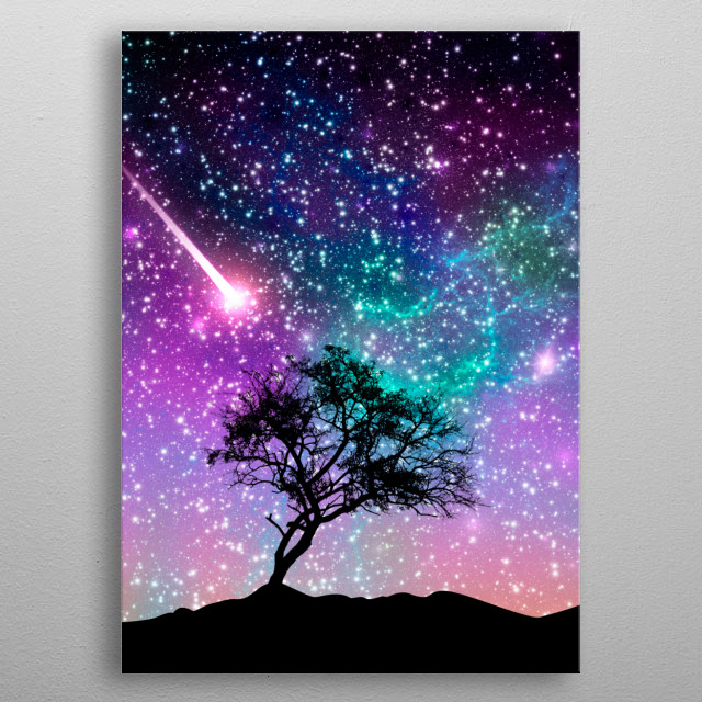 Violet galaxy metal poster