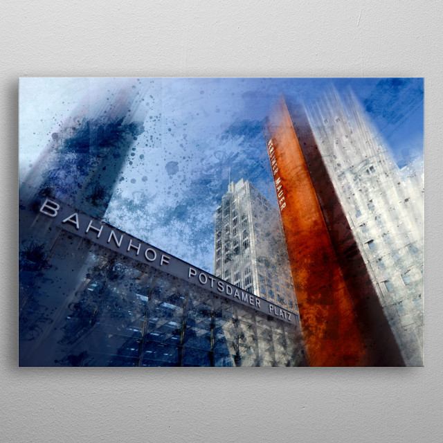 Cityscape from Potsdamer Platz in Berlin, Germany. Enjoy this modern art impression. metal poster