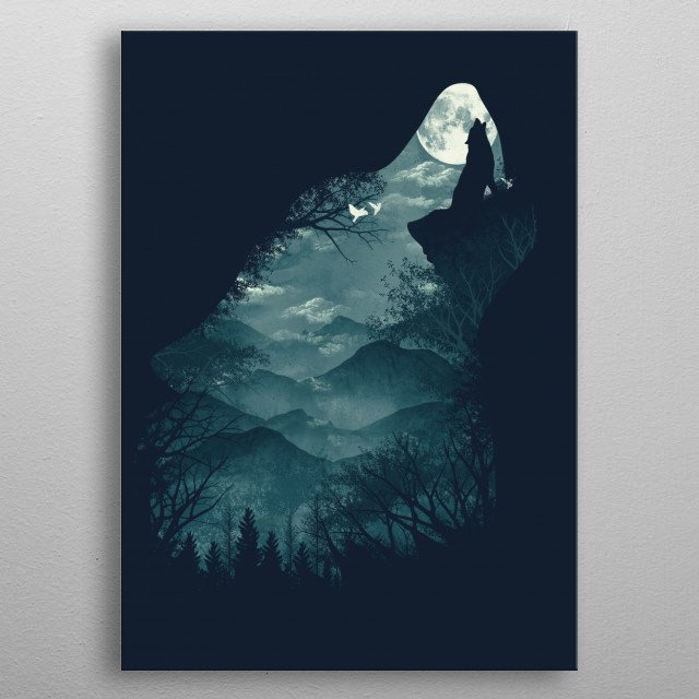 Hungry Wolf metal poster