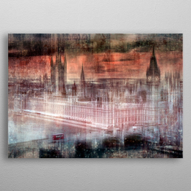 London artwork with Houses of Parliament and a red bus on Westminster Bridge. metal poster