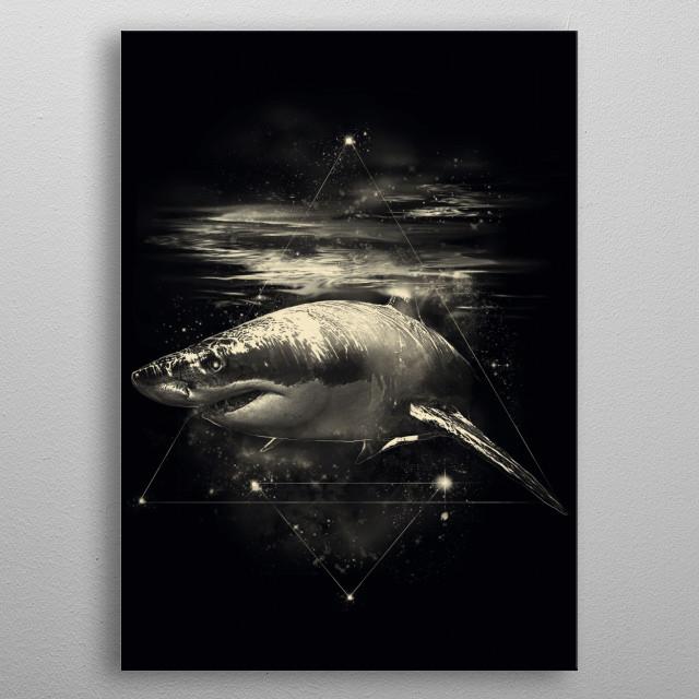 Shark in Space metal poster