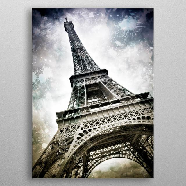 Modern Art PARIS Eiffel Tower Splashes metal poster