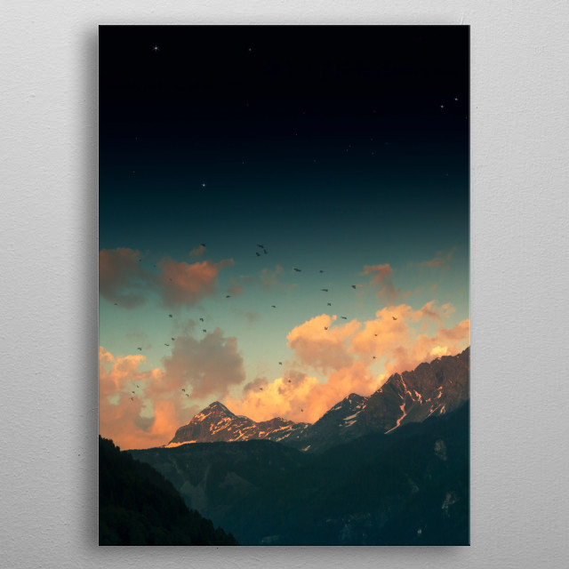Evening clouds above mountains in the Italian alps metal poster