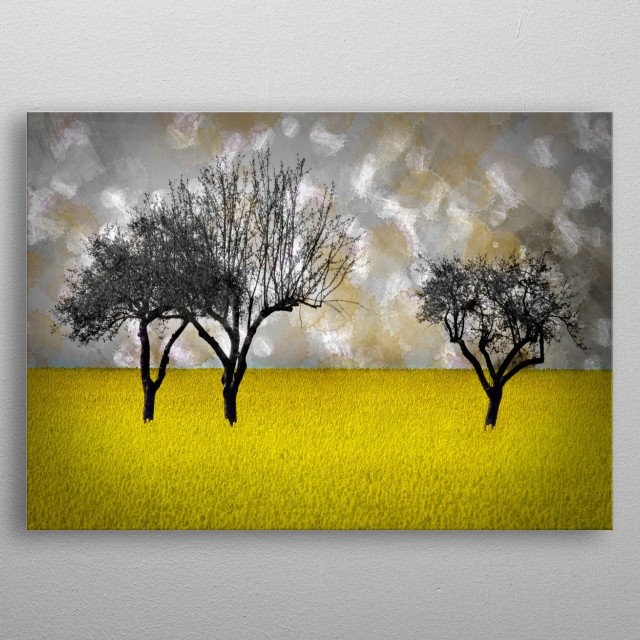 A landscape with a rapeseed field and trees... individually version with self painted background. Lovely light colours complete the scene. metal poster