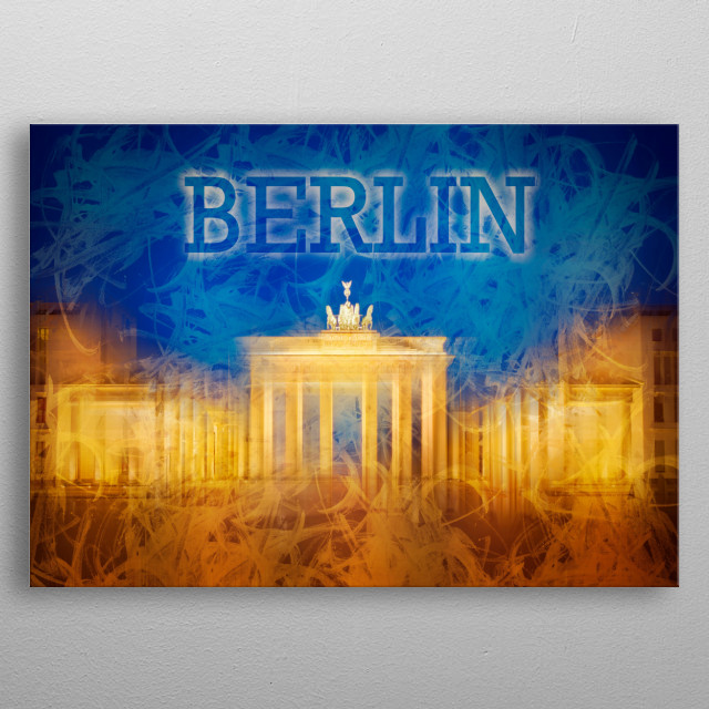 The Brandenburg Gate (Brandenburger Tor) is one of the most well-known landmarks of Germany. Modern and decorative artwork. metal poster