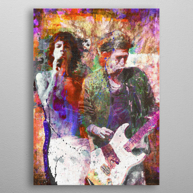 CAN'T YOU HEAR ME KNOCKIN!! I created this Mic Jagger & Keith Richards with a mixed-medium process to reflect the feeling of their music. metal poster