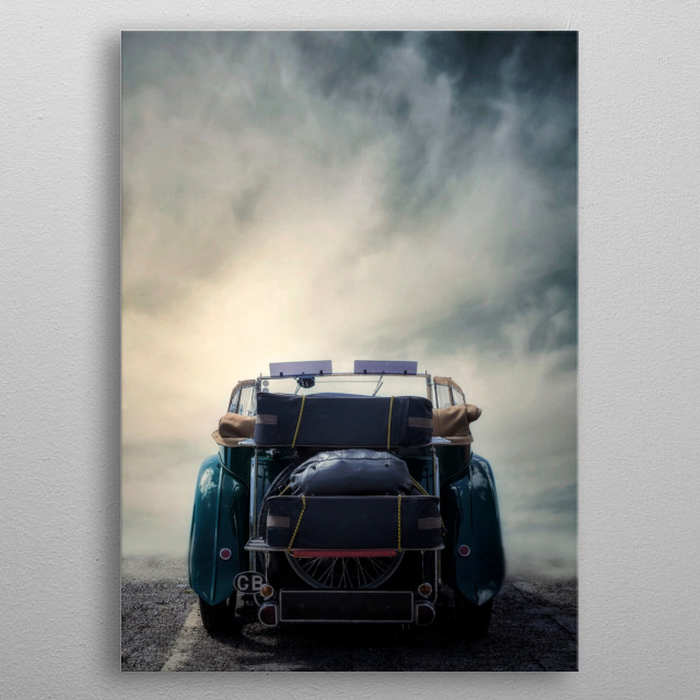 a classic car with suitcases and bag metal poster