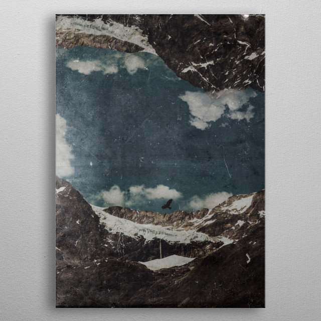 Manipulated photograph of Sasso Rosso glacier in the italian alps. metal poster