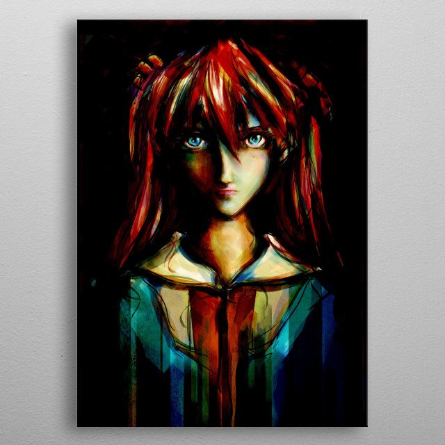 A deep and emotional painting portrait of Asuka Langley Soryu inspired from Evangelion anime/manga series metal poster