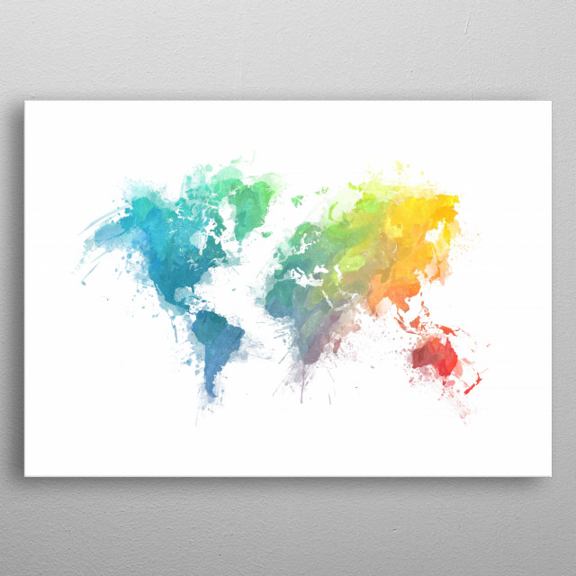 Map of the world - watercolor... by Justyna Jaszke | metal posters ...