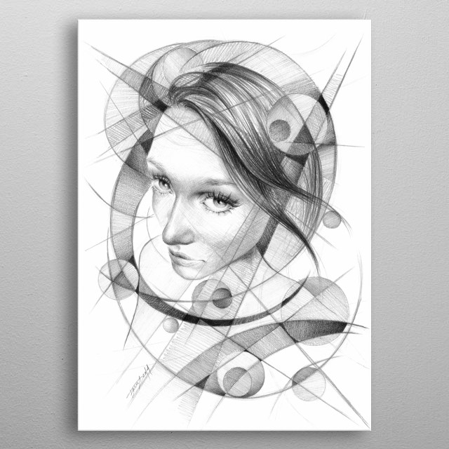 In geometry | Graphite pencil drawing metal poster