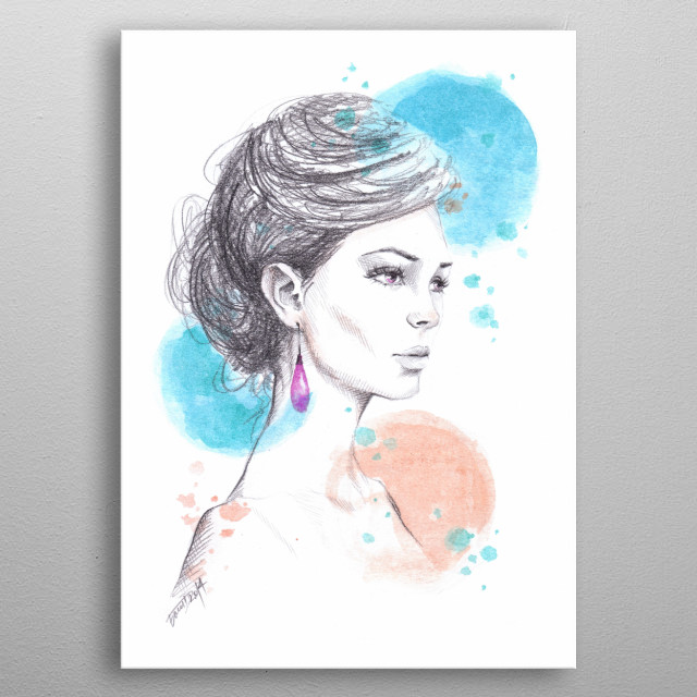 Earring | Graphite and watercolor fashion illustration metal poster