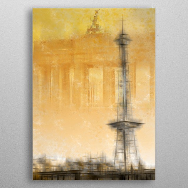 Discover Radio Tower and Brandenburg Gate in this collage. Modern and decorative artwork of two famous historical sights in Berlin. metal poster