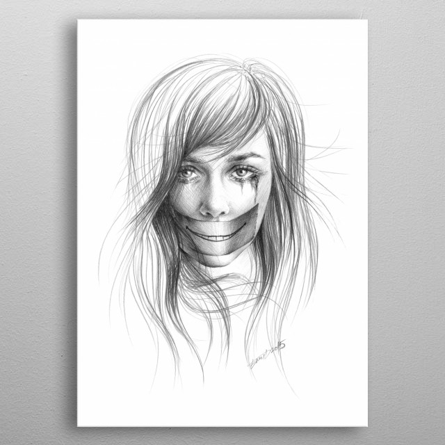 Keep smiling for me | Graphite pencil sketch metal poster
