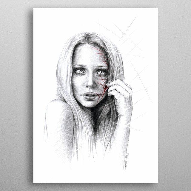 Self-destruction: expose | Graphite pencil and pen drawing metal poster
