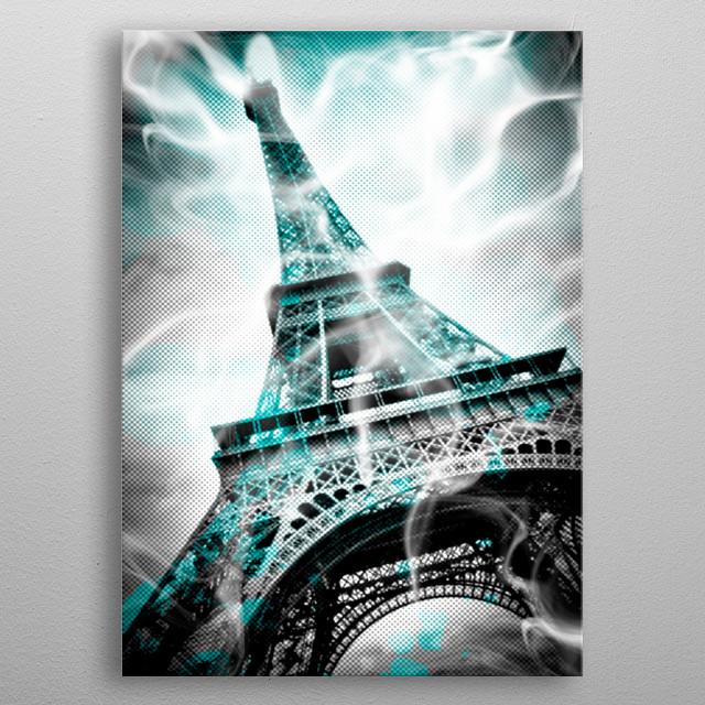 Digital Art PARIS Eiffel Tower metal poster