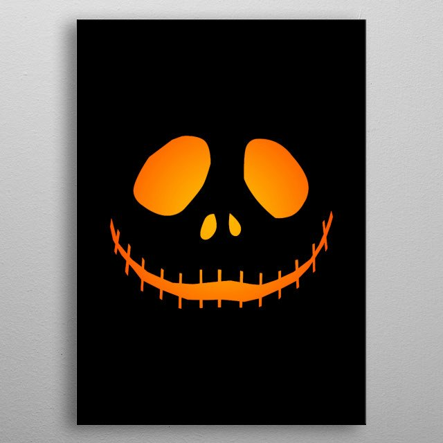 Minimal jack-o-lantern vector design with glowing gradient light effect. Perfect for Halloween decorations! metal poster