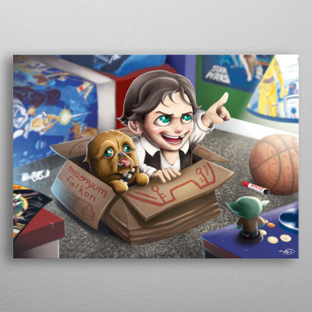 Lightspeed! The Little dreamers series features kid friendly paintings with the theme of  imagination and fan favorite movies, cartoons, or games! metal poster