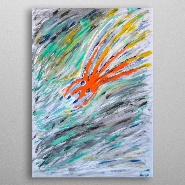 Deep Sea. A semi-abstract featuring a deep sea creature swimming through muddy water. metal poster