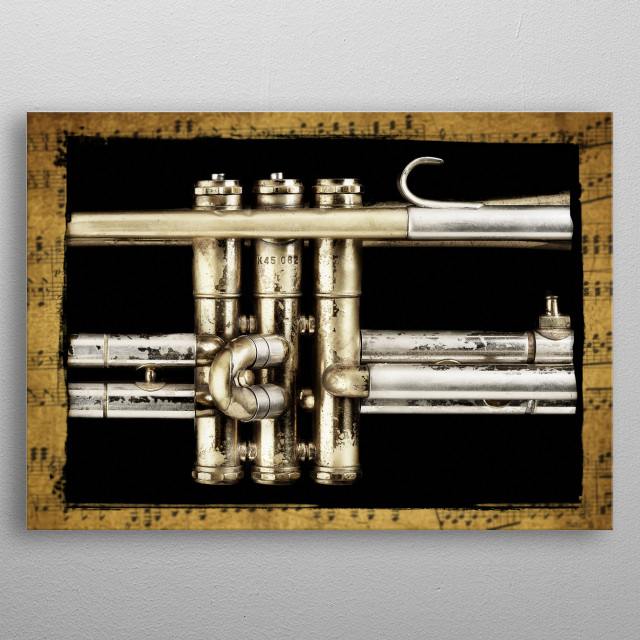 Trumpet valves on a much used and abused retired high school trumpet. metal poster