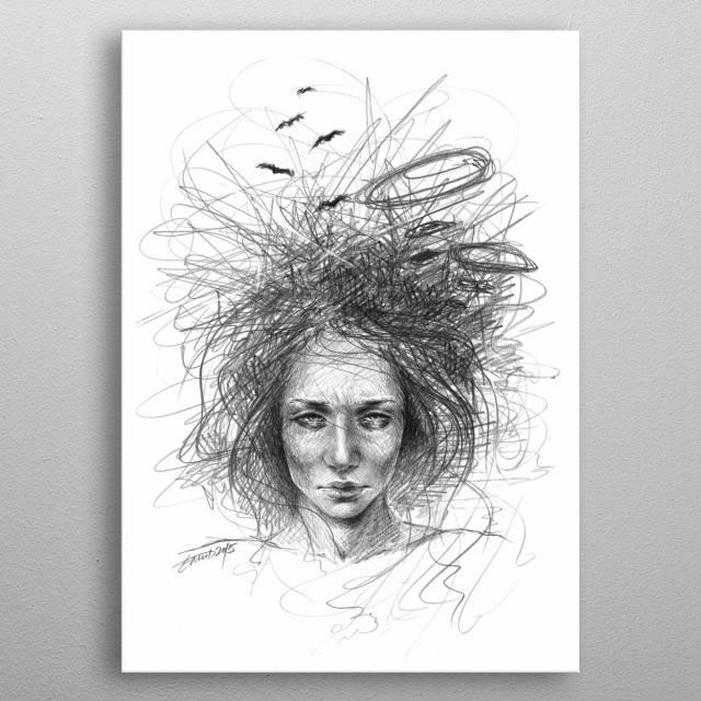 Nothing makes sense | Graphite pencil sketch metal poster