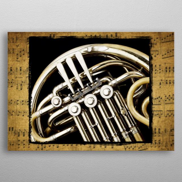 French horn valves metal poster