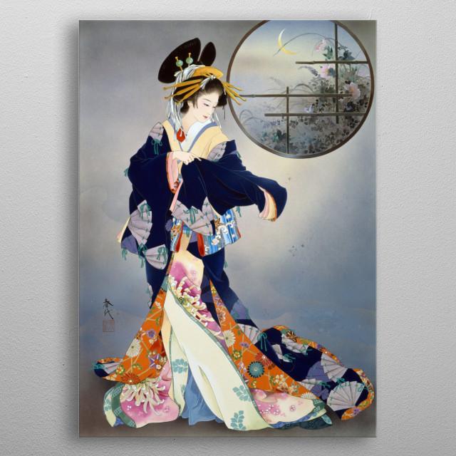 Haruyo Morita Flowers Geisha Japanese Japan Asian Traditional Painting Woman Female metal poster