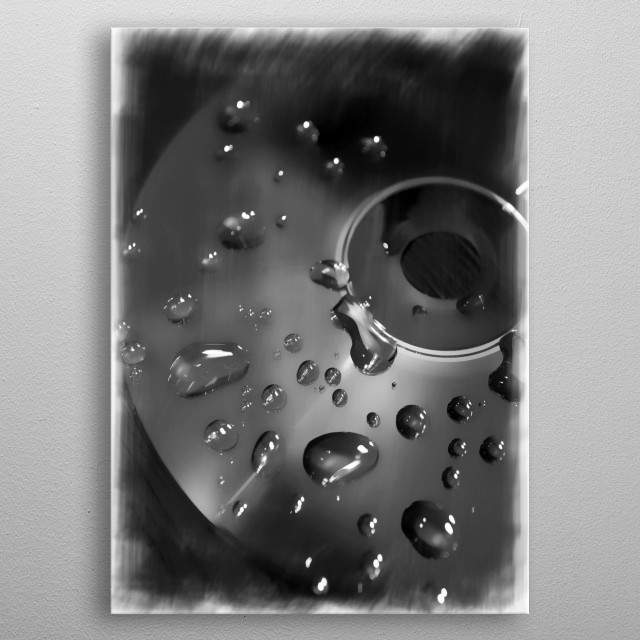 Retro CD and Water Droplets in Mono metal poster