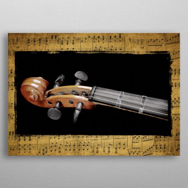 Violin scroll metal poster