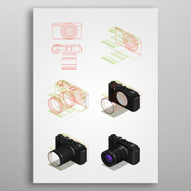 isometric tutorial metal poster