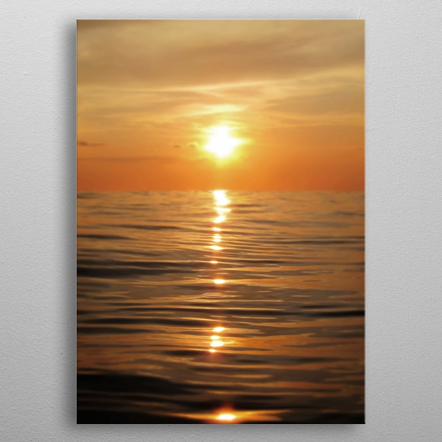 Sun setting over calm waters metal poster