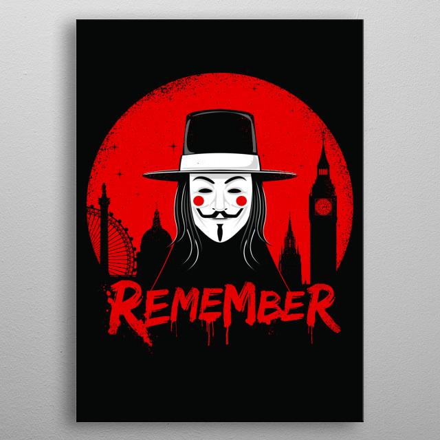 V for Vendetta inspired minimal poster design and illustration metal poster