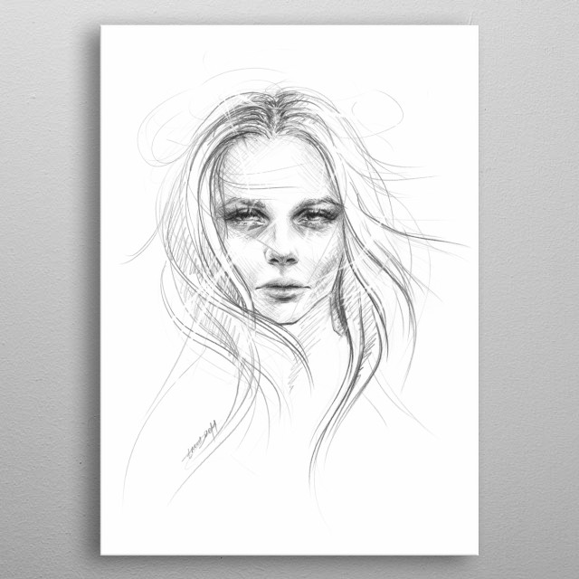 Fade away | Graphite pencil sketch of a female face metal poster