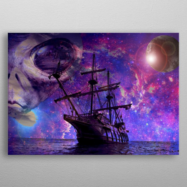 Sailing The Galaxy metal poster