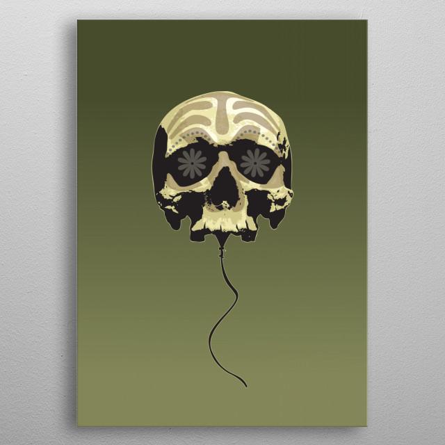 Balloon skull metal poster