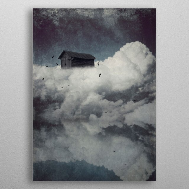 Surreal cloudscape with birds metal poster