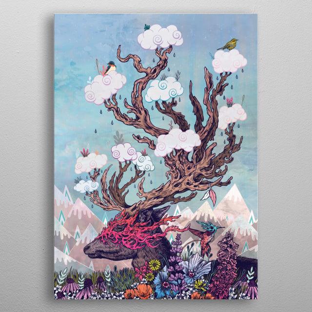 Journeying Spirit (deer) metal poster